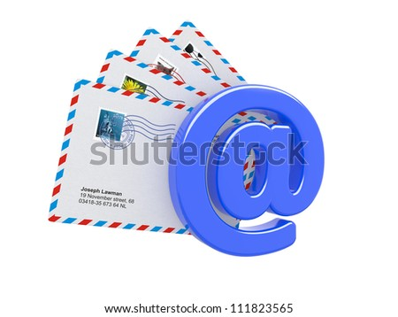 E-mail and Internet Messaging Concept. Some Post Envelopes with Blue Sign of E-mail in Foreground