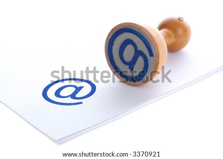 E-MAIL blue rubber stamp - stock photo