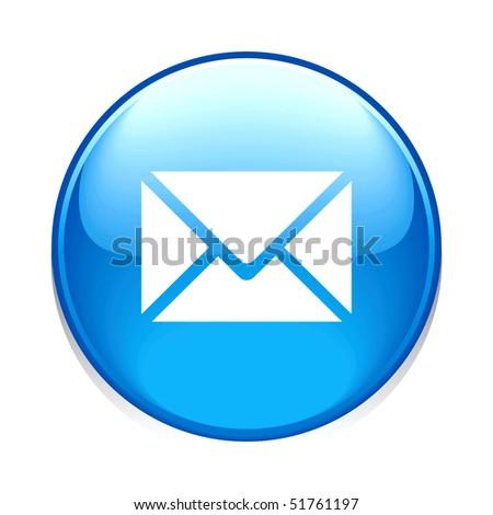 e-mail circle blue button icon isolated on white - stock photo