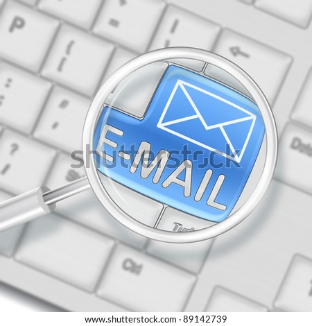 e-mail concept - computer keyboard with e-mail keypad - stock photo