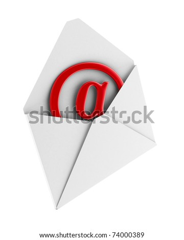 E-mail concept on white background. Isolated 3D image - stock photo