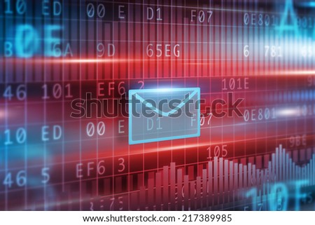 E-Mail concept with red background small blue envelope - stock photo