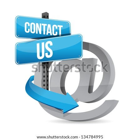 E mail contact us at sign illustration design over white - stock photo
