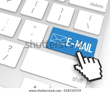 E-Mail enter key with hand cursor. 3D rendering