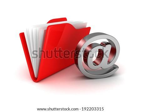 e-mail folder at symbol metallic icon. concept 3d render illustration - stock photo