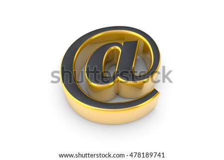 E-mail grey&gold symbol. Isolated over white. Available in high-resolution and several sizes to fit the needs of your project. 3D illustration rendering.
