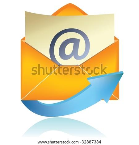 E-mail icon, orange #1 - stock photo