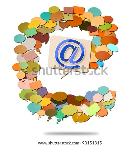 e-mail image, paper talk image created by recycled paper cut isolate on white background - stock photo