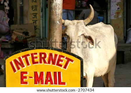 e-mail & internet in Indian style - stock photo