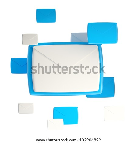 E-mail letter emblem glossy icon isolated on white - stock photo