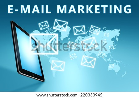 E-Mail Marketing illustration with tablet computer on blue background - stock photo