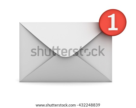 E mail notification one new email message in the inbox concept isolated on white background with shadow. 3D rendering. - stock photo