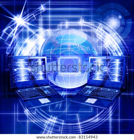 E-mail of a network the Internet delivers you the message from any point of the world - stock photo