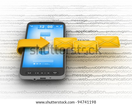 E-mail on cell phone - mobile technology - stock photo