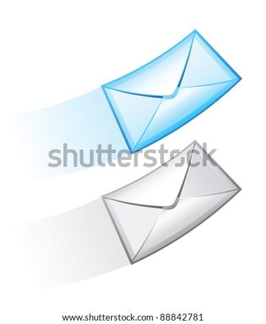 e-mail raster icon set - stock photo