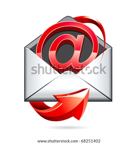 e mail red icon - stock photo