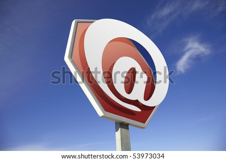 E-mail road sign - stock photo
