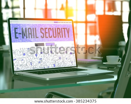 E-Mail Security Concept - Closeup on Landing Page of Laptop Screen in Modern Office Workplace. Toned Image with Selective Focus. 3D Render. - stock photo