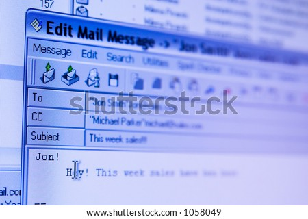 e-mail sending screen (window) - stock photo