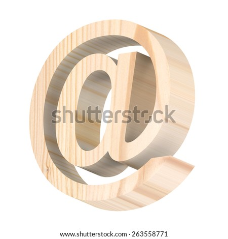 E-mail sign from pine wood alphabet set isolated over white. Computer generated 3D photo rendering. - stock photo