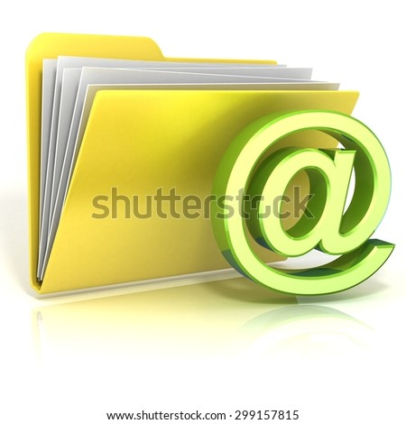 E-Mail symbol folder icon. 3D render illustration, isolated on white background - stock photo