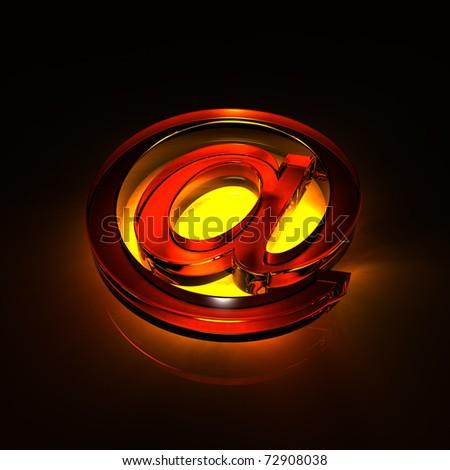 e-mail symbol glass - orange - stock photo