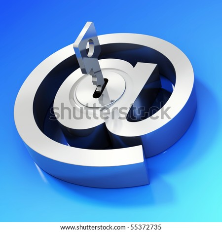 E-mail symbol with key. Internet security concept - stock photo