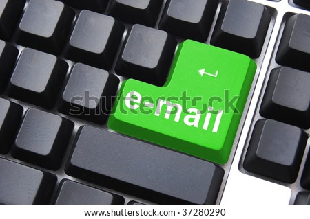 e mail text on a keyboard showing internet concept