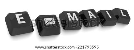 E-MAIL written in white on black computer keys. 3d illustration. Isolated background. - stock photo