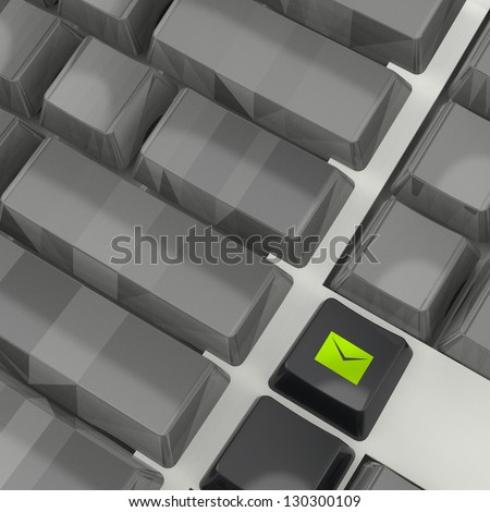 E-mailing Marketing campaign key with mailing envelope icon on laptop keyboard 3d - stock photo