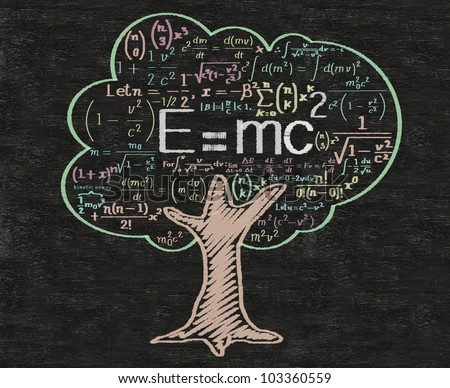 e=Mc2 meaning education and learning and words tag cloud written on blackboard background, high resolution, easy to use. - stock photo