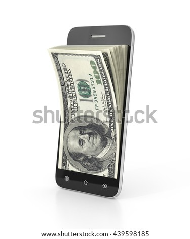 E-money concept. Smartphone with money from the screen. 3d illustration - stock photo