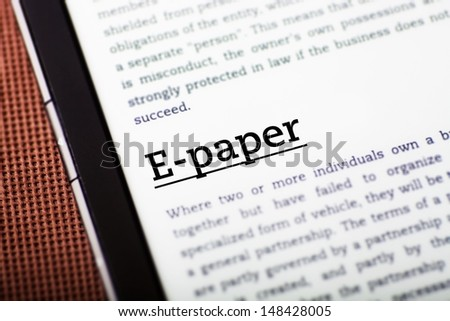 E-paper on tablet pc screen, ebook concept