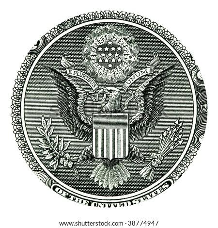 E Pluribus Unum Seal on the US One Dollar Bill - stock photo