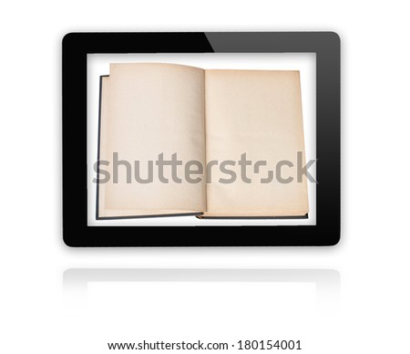 E-reader In Tablet PC - empty pages - stock photo