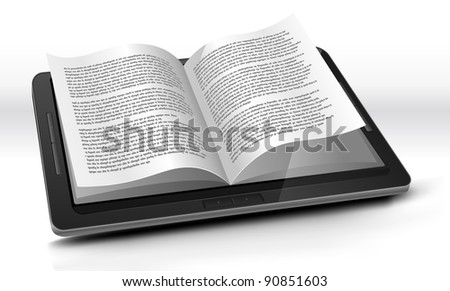 E-reader In Tablet PC/ Illustration of a tablet pc e-book with realistic page flipping effect. Imaginary model of e-book not made from a real existing product. - stock photo