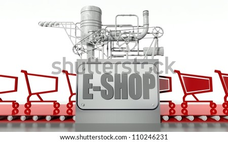 E-shopping concept with carts and machine - stock photo