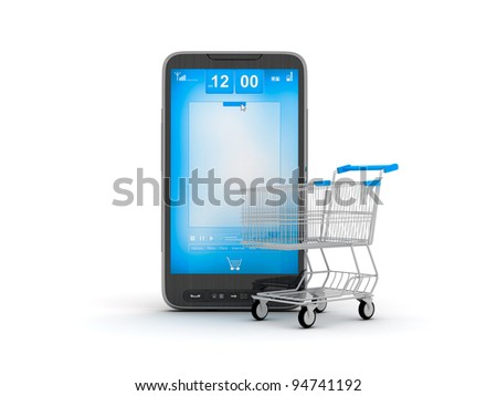 E-Shopping - internet shopping by cell phone - stock photo