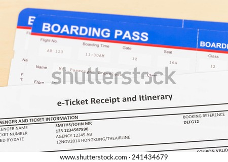 E-ticket and boarding pass - stock photo