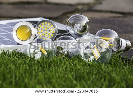E27 tungsten, halogen and various LED bulbs on the grass; GU10 on solar panel - stock photo