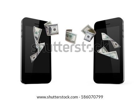 Each mobile phone transferring online one hundred dollar banknotes money, front view, isolated on white background. - stock photo