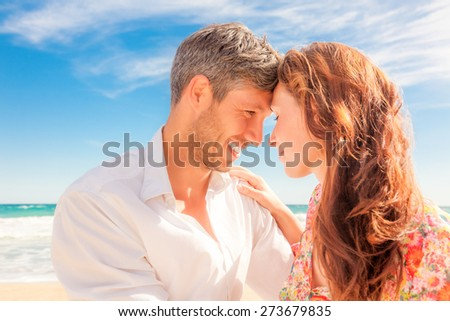 eachother looking eyes head on head portrait - stock photo