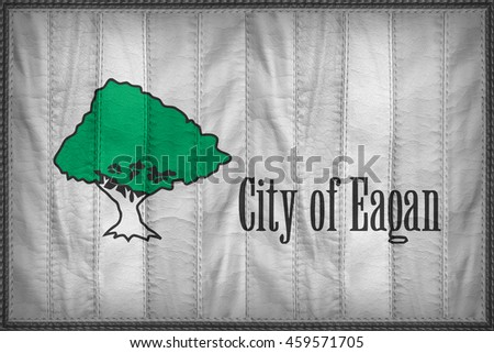 Eagan City flag pattern on synthetic leather texture, 3d illustration style
