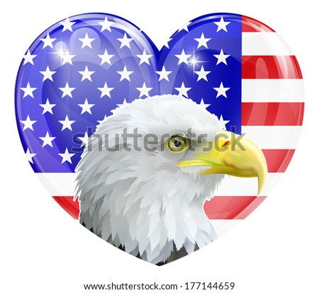 Eagle America love heart concept with and American bald eagle in front of an American flag in the shape of a heart