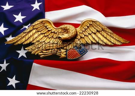 Eagle and flag on United States flag - stock photo