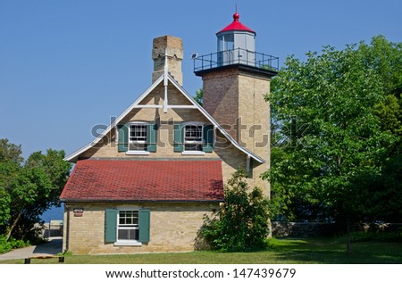 Eagle Bluff Lighthouse, Door County Peninsula, Wisconsin - stock photo