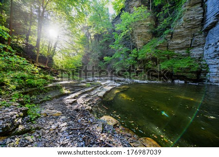 Eagle Cliff falls at Havana Glen in New York. A beautiful short gorge in the Finger Lakes region. - stock photo