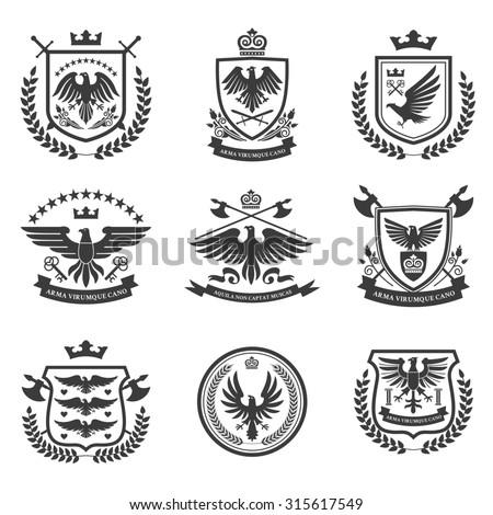 Eagle heraldry coat of arms emblems shield icons set with spread wings black isolated abstract  illustration - stock photo