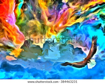 Eagle in heavens painting - stock photo