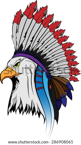 Eagle in the national Indian hat. - stock photo